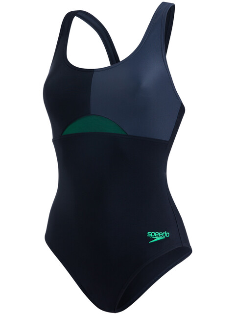 speedo W's HydrActive Swimsuit Black/Oxid Grey/Fake Green